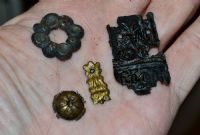 An interesting group of 4 x assorted Tudor period decorative bronze mounts,River Thames, London.SOLD